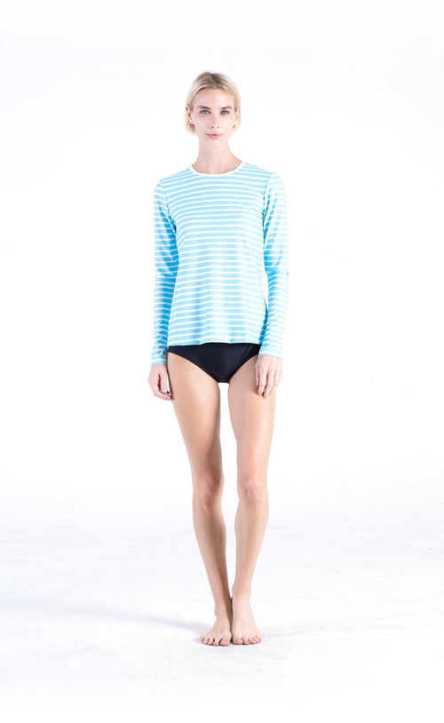 Long-Sleeved Swim T - Baby Blue Stripes