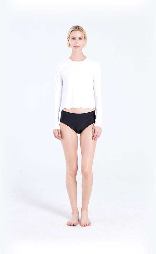 Scallop Cut Swim T - White