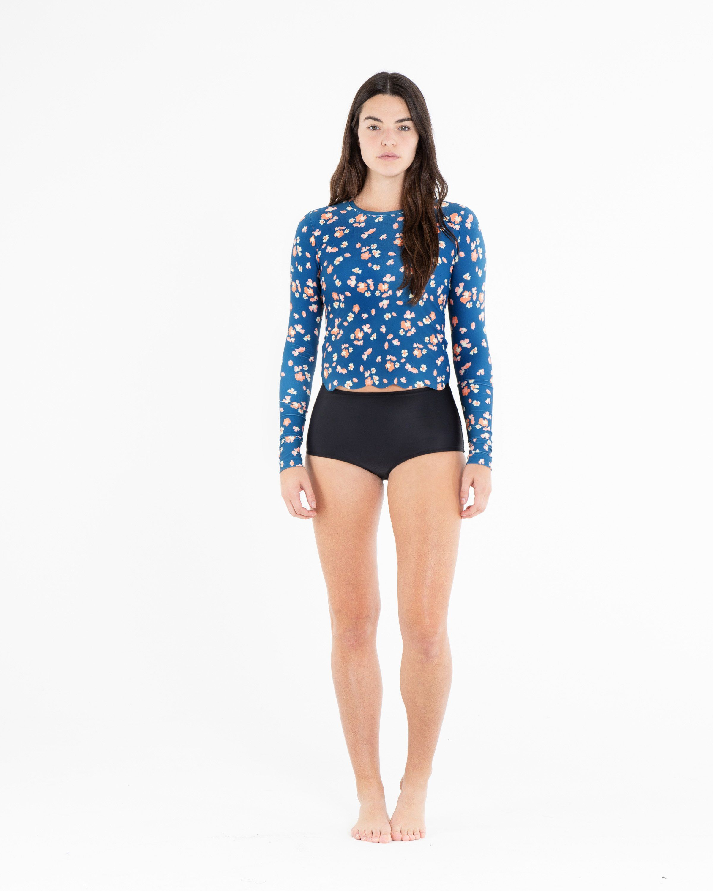 Scallop Cut Swim T - Blue Floral