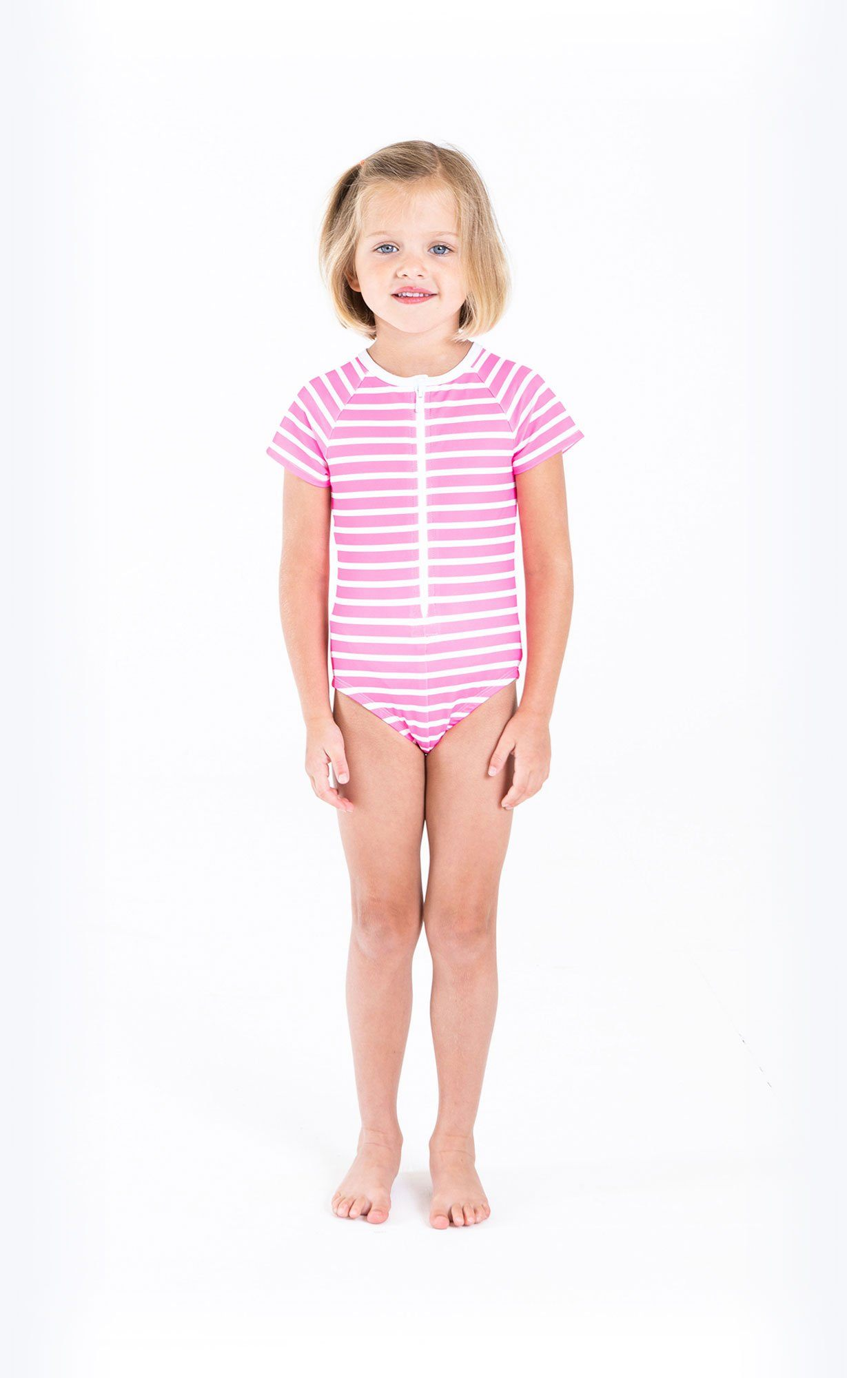 Cover Kids Short-Sleeved Swimsuit - Neon Pink Stripes