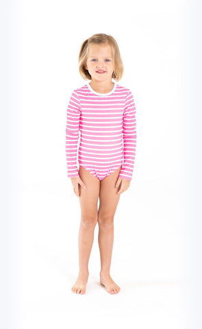 Cover Babies - Neon Pink Stripes Full-Leg Bodysuit