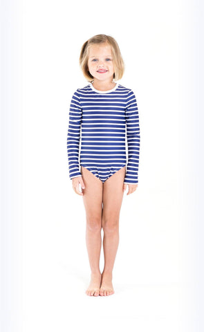 Long-Sleeved Swimsuit - Neon Pink Stripes