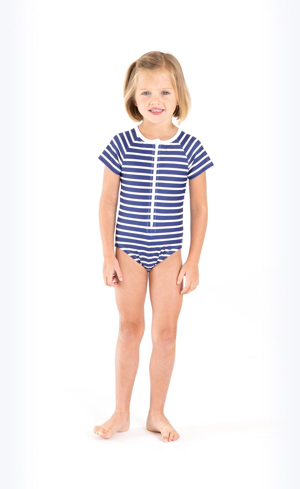 Cover Kids Short-Sleeved Swimsuit - Navy Stripes