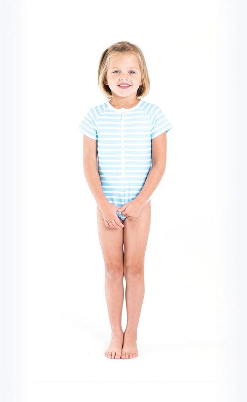 Cover Kids Short-Sleeved Swimsuit - Baby Blue Stripes