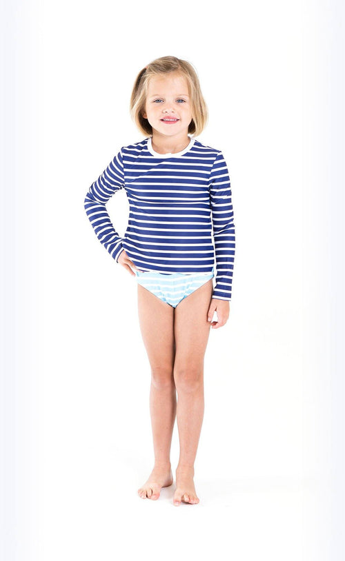 Cover Kids Scallop Cut Swim T - Navy Stripes