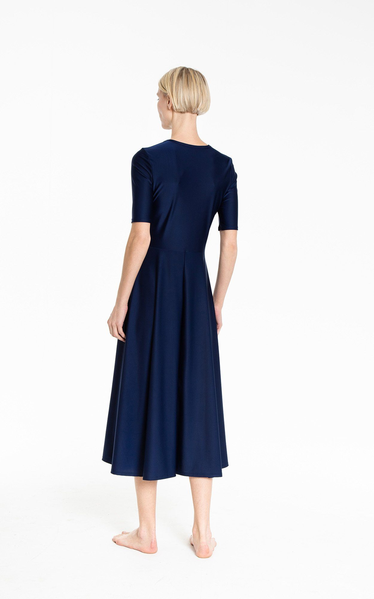 Elbow Sleeve Dress - Navy