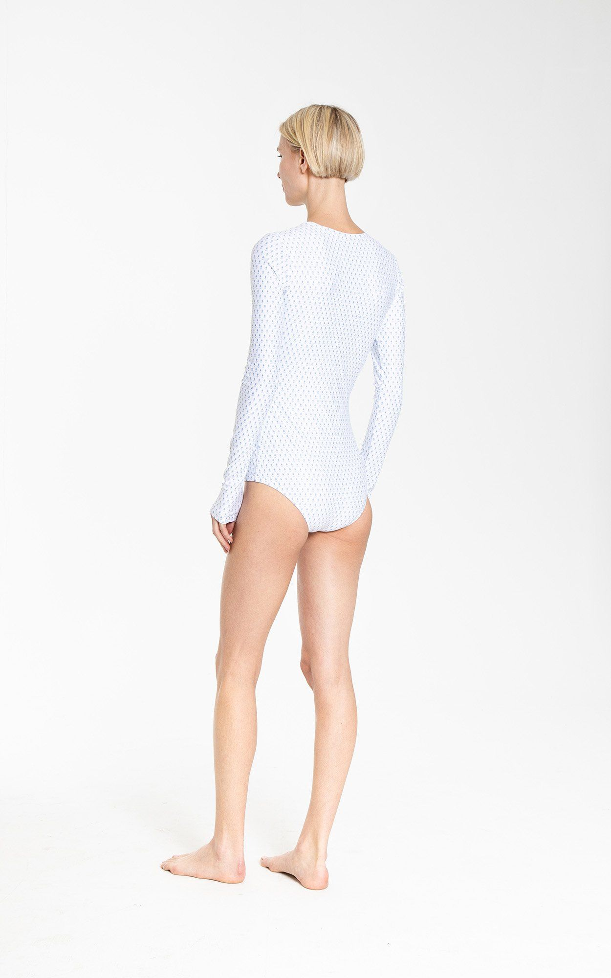 Long-Sleeved Front Zip Swimsuit - Tiny Tulips