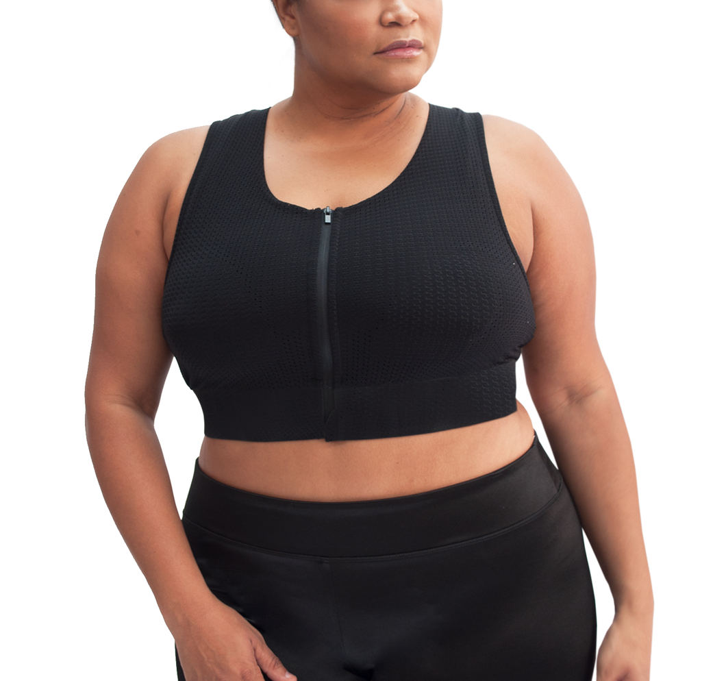 Nina Mesh Zip Up Plus High Impact Bra