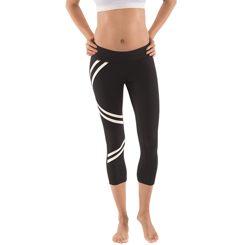 Capri Yoga Leggings - Moxie Double Stripe
