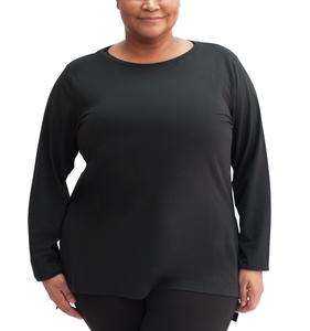 Free Fall Side Slit Plus Long Sleeve Top