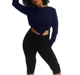 Free Fall Side Slit Long Sleeve Top