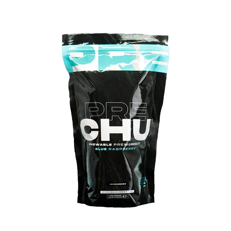 PRE|CHU GUMMIES - CHEWABLE PRE-WORKOUT - BLUE RASPBERRY - 180 GUMMIES - Fitness Factory