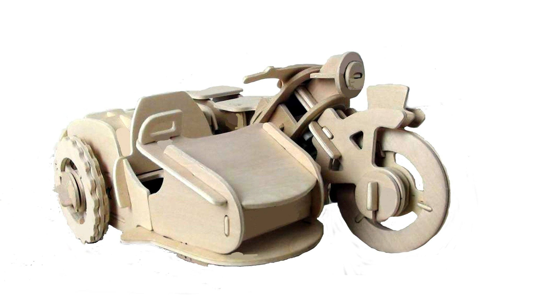 --Robotic 3D Wooden Puzzle-Motorcycle w/Sidecar--