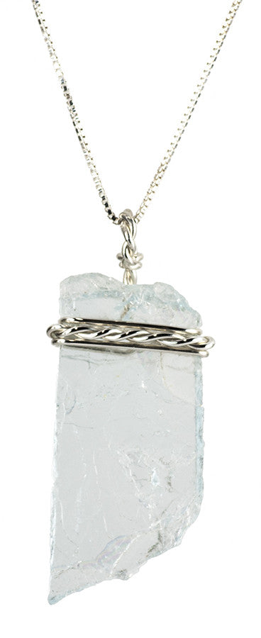 Blue Aquamarine Pendant Necklace Handmade in Sterling Silver | Whisperingtree.net
