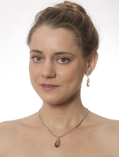 Smoky Quartz, Pearl and Natural Zircon Necklace and Earing Set by Kristin Ford Jewelry with Meaning | Whisperingtree.net
