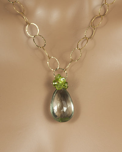 Handmade Jewelry Gold Reversible Nekclace with Prasiolite and Peridot Handmade in USA | Whisperingtree.net