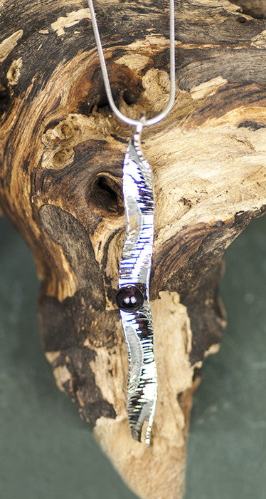 Ripples Red Garnet Modern Argentium Sterling Silver Art Jewelry Necklace by Wendy Foreman Handmade Handcrafted | Whisperingtree.net