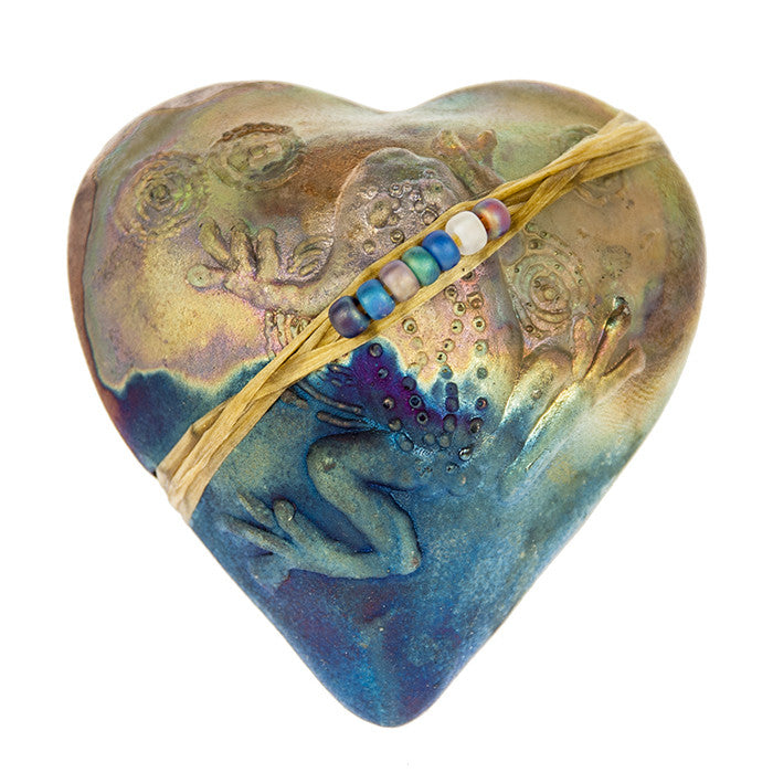 Frog Heart Spirit Raku Rattle