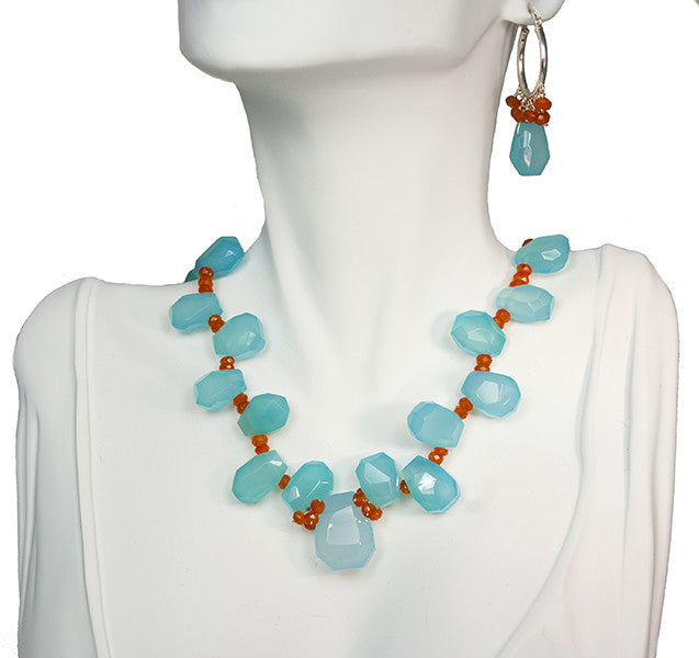 Blue Chalcedony and Carnelian Necklace and Earring Set
