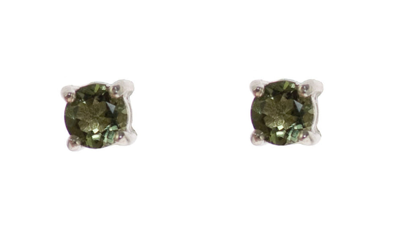 Extra Small Moldavite Stud Earrings in Sterling Silver | Whisperingtree.net