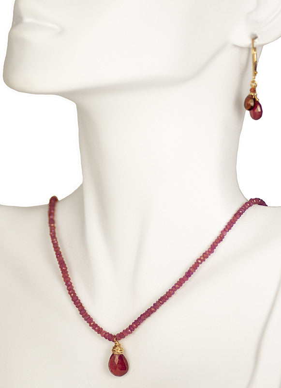 Ruby and Rose Sapphire Necklace and Earring Set