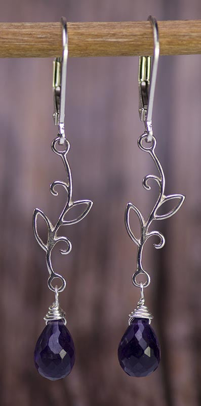 Sterling Silver Vines with Amethyst Earrings