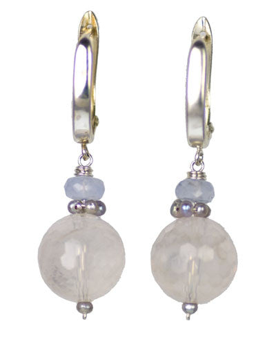Kristin Ford Rose Quartz and Chalcedony Earrings | Whisperingtree.net