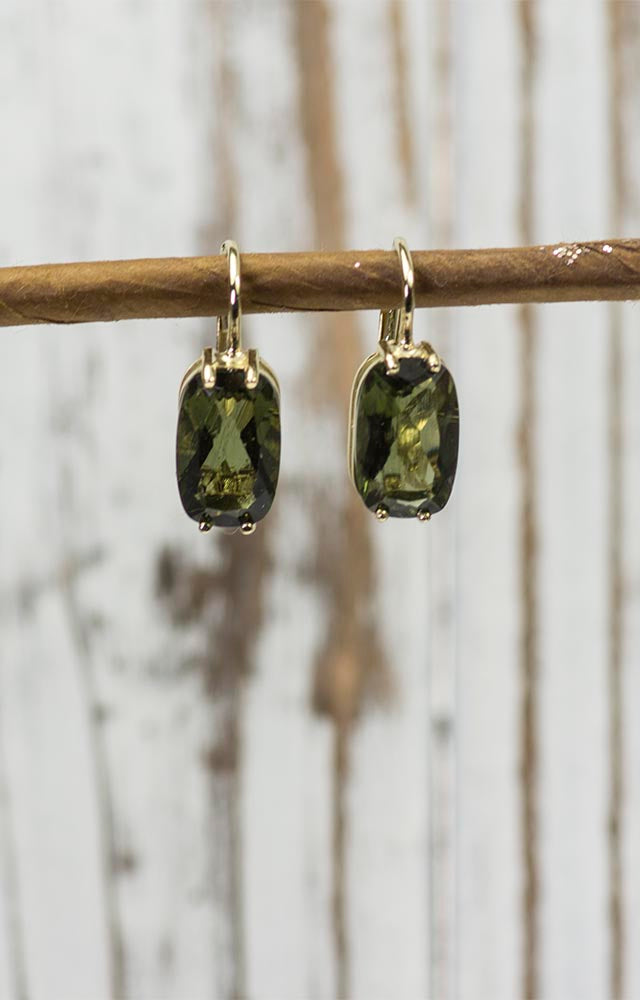 14K Gold Large Moldavite Earrings