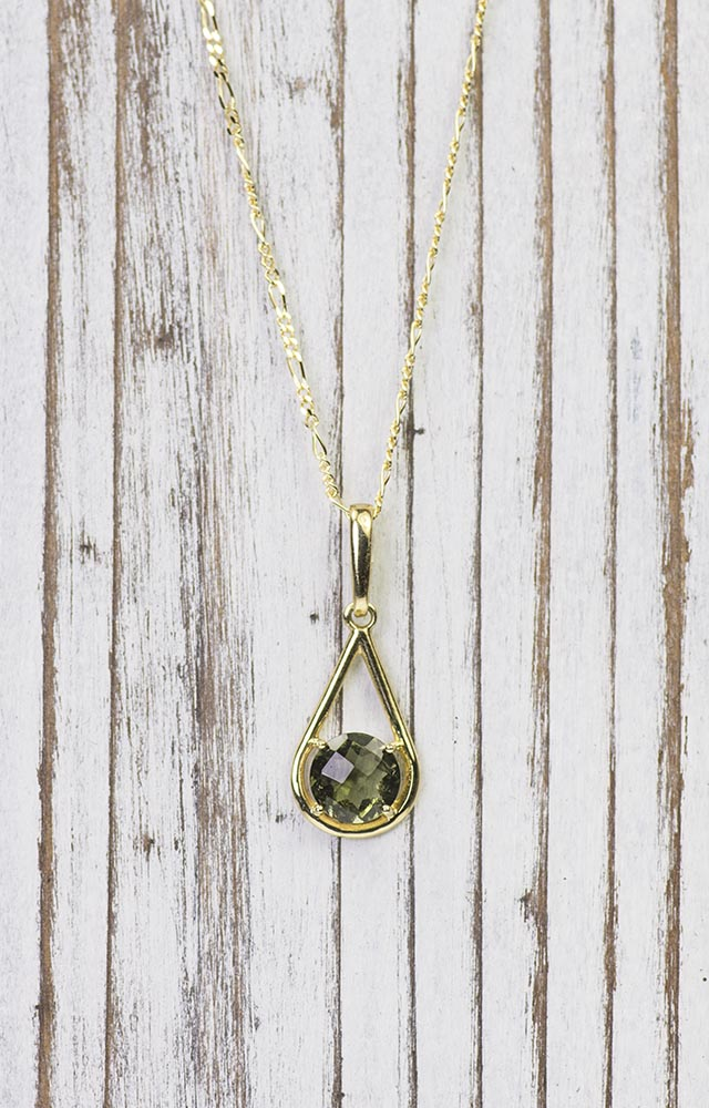 14K Gold Teardrop Moldavite Pendant on Beautiful Figaro Chain