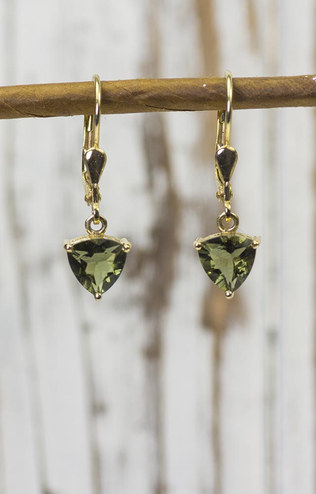 14K Gold Moldavite Triangle Earrings