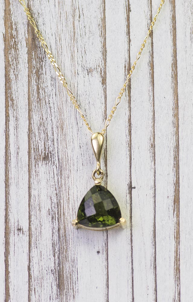 14K Gold Simple Triangle Moldavite Pendant on Beautiful Figaro Chain