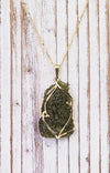 Solid 14K Gold Beautiful rough Moldavite Pendant Necklace Real Moldavite