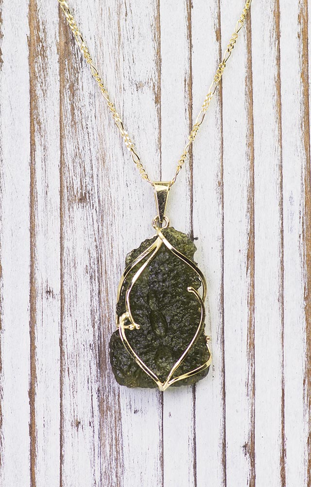 14K Gold Moldavite Pendant on Beautiful Figaro Chain