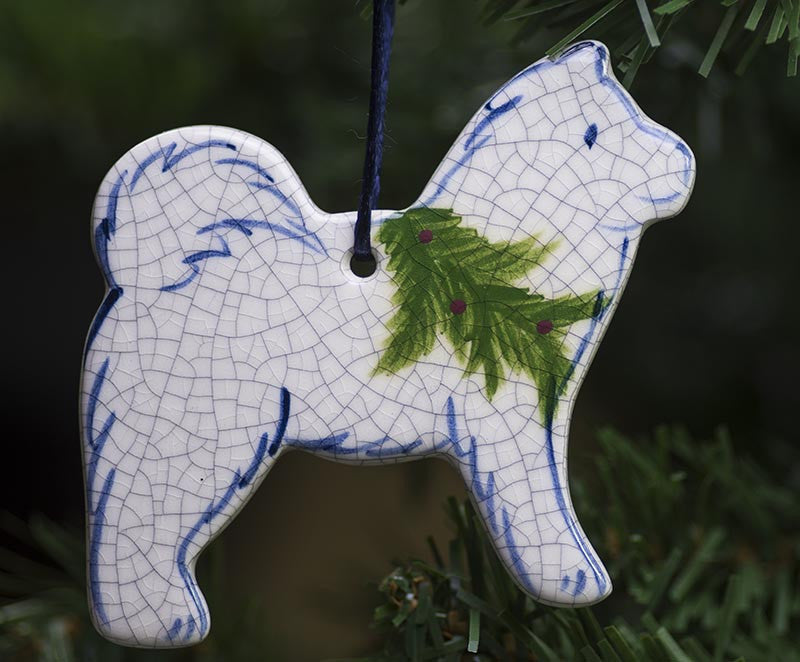 Christmas Doggie Hanging Ceramic Ornament