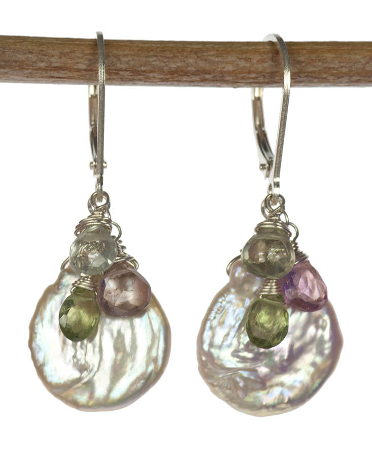 Handmade Sterling Silver Gemstone Earrings with Keishi Pearls and Green, Pink and BlueTourmaline by Kristin Ford | Whisperingtree.net
