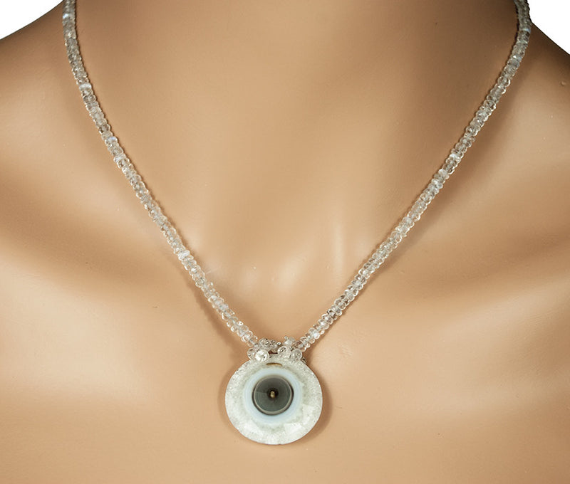 Solar Quartz and Cat's Eye Moonstone Necklace by Kristin Ford Jewelry with Meaning | Whisperingtree.net