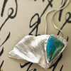 Blue Green Chrysocolla on Silver Gingko Leaf Pendant