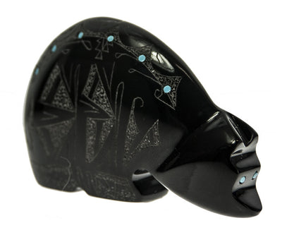 Etched Bear Zuni Fetish by Gerald Peina Carved in Belgian Marble and Inlaid with Turquoise | Whisperingtree.net