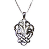Celtic Knot Cranes Necklace in Sterling Silver