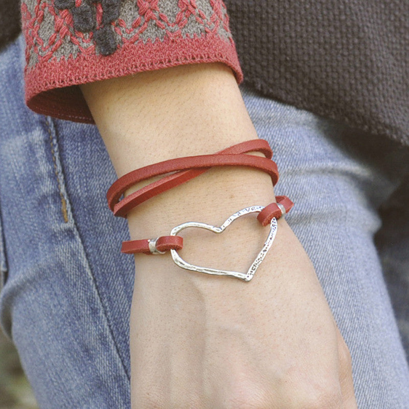 Open Heart Red Leather Boho Wrap Bracelet