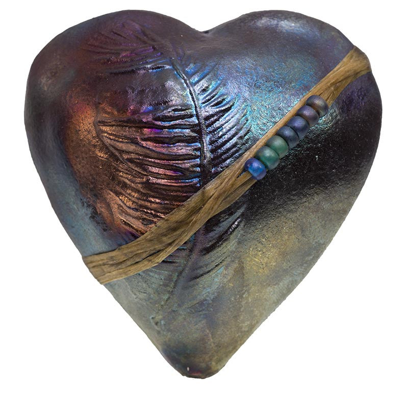 Raku Feather Heart InnerSpirit Rattle