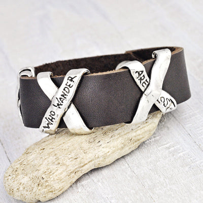 Not All Who Wander Leather Bracelet