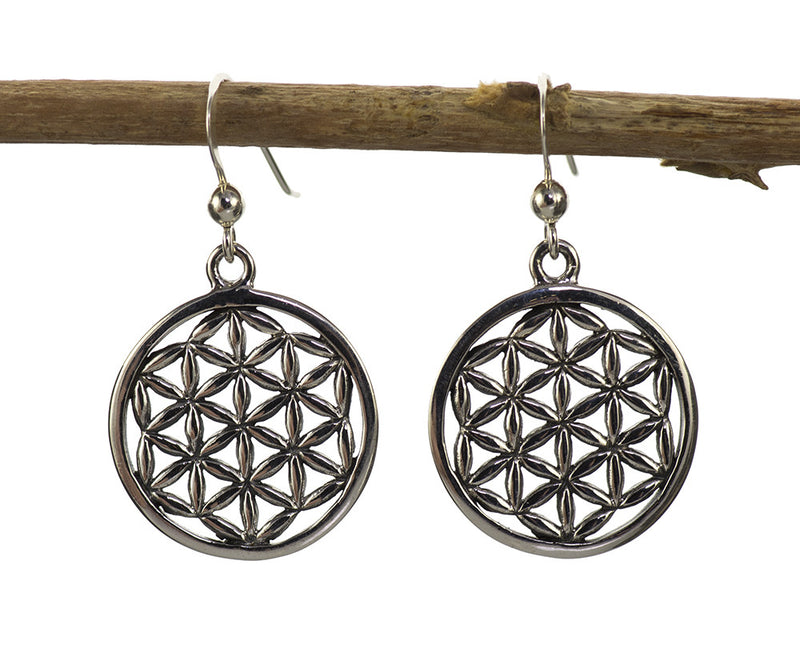 Flower of Life Earrings in Sterling Silver