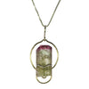 Sterling Silver Beautiful Large Red and Green Tourmaline Pendant Necklace | Whisperingtree.net