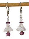 Healing Gems Rose Quartz Flowers and Garnet Sterling Silver Earrings by Kristin Ford | Whisperingtree.net