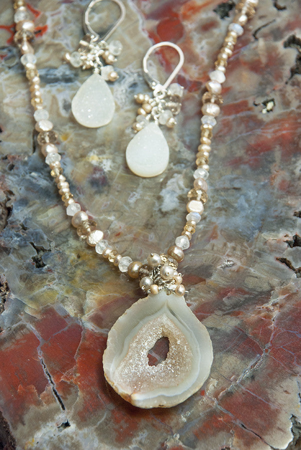 One of a Kind Handmade Geode, Moonstone and Pearl Necklace and Earrings Set