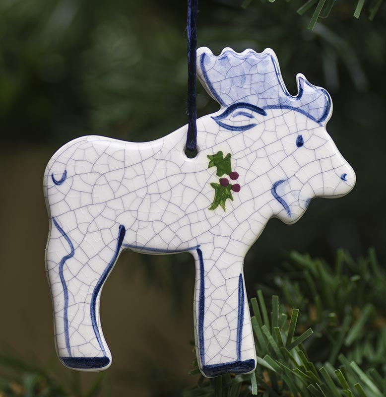 Moose Hanging Ceramic Ornament