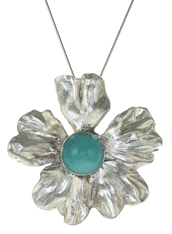 Amazonite on Cast Hibiscus Flower Silver Art Jewelry Convertible Pin and Pendant by Carina Rossner | Whisperingtree.net