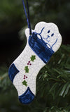 Puppy in Christmas Stocking Ceramic Ornament