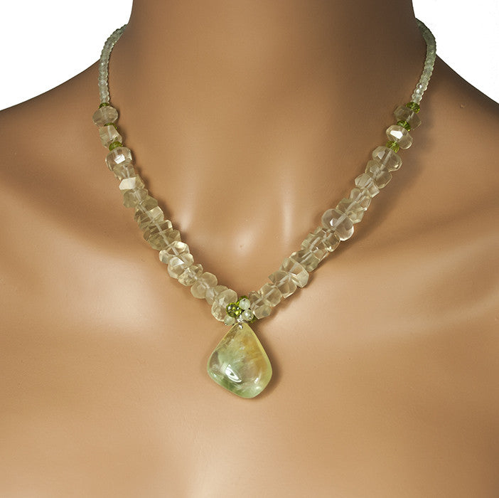 Prehnite, Lemon Quartz and Peridot Evolution Necklace